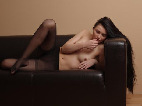 relaxing with her long black hair by MarcBergmann