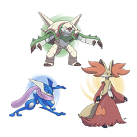 Pokemon X/Y Starters' Final Evolutions by CODE-umb87