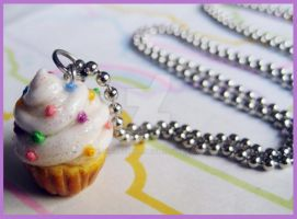 Sprinkle Cupcake Necklace by cherryboop