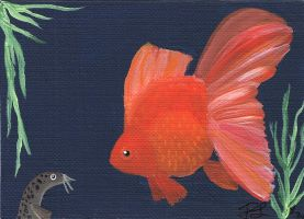 Loachy Meets Red ACEO Painting by Graphix-Goddess