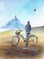 Om bicycle in Mt St Michel by sanderus