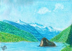 The lake and the Stone - Pastel oils by GhostHead-Nebula