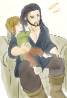 Kid!Bilbo braiding Thorin's hair by Kiri-Yami