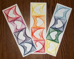 DIY String Art Bookmarker with optical hearts by terhesati