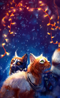 cats and garland by AlaxendrA