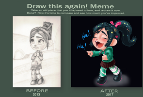Vanellope - Before and After... Grrr! by artistsncoffeeshops