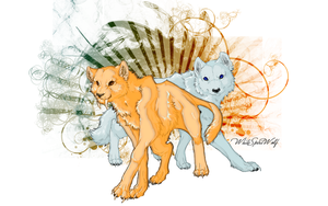 .::Gold and Ice Evolution::. by WhiteSpiritWolf