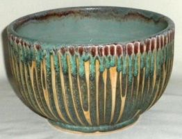 Green and Red Carved Bowl by ColoradoPotter