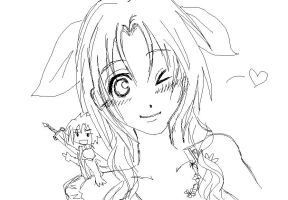 Aerith and Chibi Zack by MidnightSunshine0723