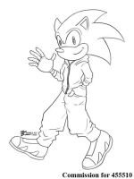 COM : Sonic in casual SKETCH by whiteguardian