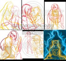 Spirits of the New Moon Redraw Sketch WIPS by AnimeEmm
