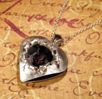 Sterling Silver Torn Heart Garnet Pendant by Utinni