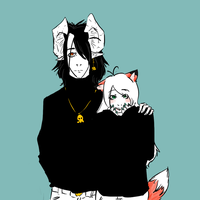 Black Bubi and Kitsu by kitsune-roka