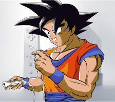 Goku playing the Wii by eggmanrules