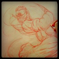Hulk pencil wip by joverine