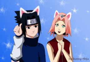 Neko Sasuke and Sakura by sunny-anju