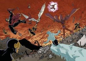 Spidey and X-Men VS Magneto by Ullcer