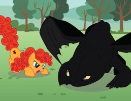 MLP OC: Playing with Toothless by benybing