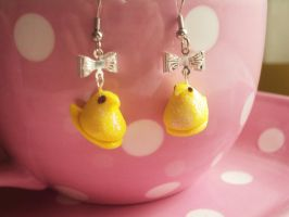 Easter Marshmallow Chick Earrings - Peep inspired by abarra01