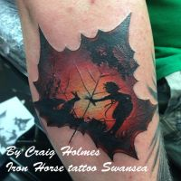 Leaf tattoo by Craig Holmes @ Iron Horse by CraigHolmesTattoo