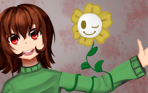 Chara and Flowey by LordLorna