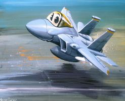 F-15 cartoon painting by heckthor