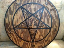 Sigil of Baphomet Plaque Black on Stain by SigilofSulfer