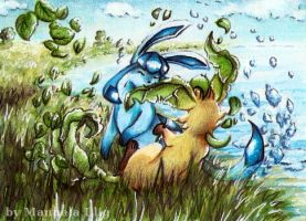Glaceon and Leafeon playing x3 by Diaris