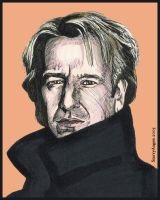 Alan Rickman in Ink by StarryAugen