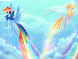 Derpy and Rainbow Dash flying in the sky by AlenD-nyan