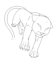 Free Big Cat Lineart Template by Lines-and-Lines