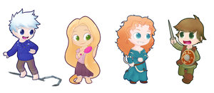 Rise of The Brave Tangled Dragons chibis by Sunnynoga