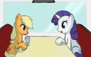 AJ and Rarity go to a diner by Elslowmo