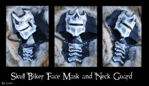 Leather Skull Riding Mask and Neck Guard by Epic-Leather