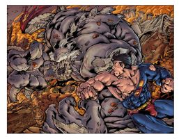 Superman vs Doomsday COLORS by Voodoodwarf