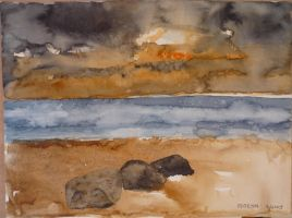 Seascape with rocks by Moenn