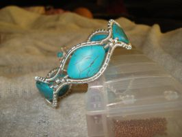 Silver Amazonite wire wrapped adjustable cuff by Toowired