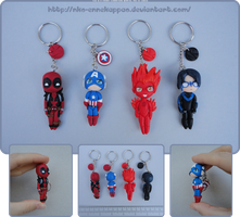 Marvel/DC chibi keychains by Nko-ennekappao