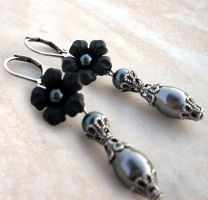 Black Flower Earrings by Aranwen