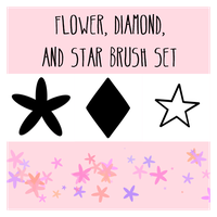 Flower, Diamond and Star Scatter Brushes by Tinkalila