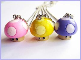 Nintendo Mushroom Necklaces by cherryboop