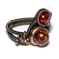 Steampunk Ring Double Amber by CatherinetteRings