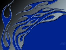 FLAMES BLUE N SILVER by DigitalPhenom