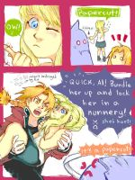 Edward, Winry, and Papercut by CeruleanSan