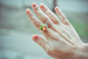 Polymer Clay Ring 'Blooming bouquet' by BeautyCreek