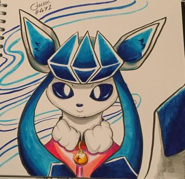 Glaceon quick doodle (with watercolour pens) by Draqualoon