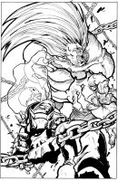 Ghost Rider Fighting Blanka by JoeOiii