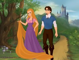 Rapunzel and Flynn Rider by Kailie2122