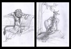 Two Sketches - Lion and Deer by Atan