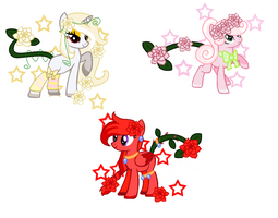 CLOSED - Camelia FlowerTail Pony Sisters Auction by Arxielle